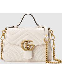 Gucci - グッチ公式〔GGマーモント〕ミニ トップハンドルバッグホワイト レザー Color_descriptionレザー - Lyst