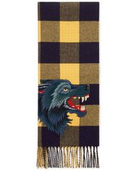 Gucci - Check Wool Cashmere Scarf With Wolf - Lyst