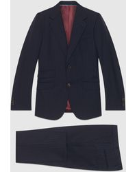 Gucci 【公式】 (グッチ)フィットシルエット ピンストライプ スーツ ピンストライプ ウールブルー