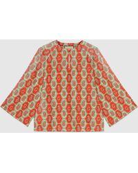 Gucci - Tunika aus Baumwollleinen mit GG Paisley Muster - Lyst