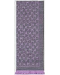 Gucci グッチ公式GGジャカード ウール スカーフパープル Color_descriptionオーガニック生地