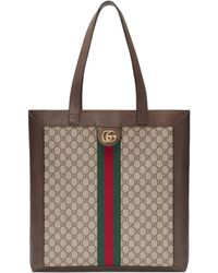 Gucci Gg Supreme Leather And Canvas Tote - Natural