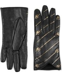 Gucci - Leather Gloves With Double G Stripe Print - Lyst