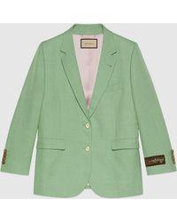 Gucci 【公式】 (グッチ)ヴィスコースリネン シングルブレスト ジャケットライトグリーングリーン