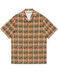 Gucci Bowling Shirt mit G Print mit Flechteffekt - Orange