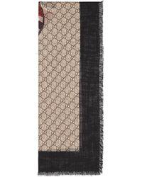 Gucci Bufanda de lana con estampado de tribanda y serpiente real - Neutro