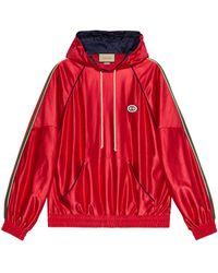 Gucci Sudadera de punto con capucha y tribanda Web - Rojo
