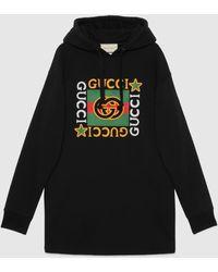 Gucci Kapuzenkleid mit Logo und Sternen-Print - Schwarz