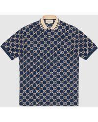Gucci エンブロイダリー GG ポロシャツ - ブルー