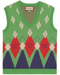 Gucci Chaleco de punto de lana con rombos y GG - Verde