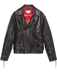Gucci Veste en cuir à motif champignons - Noir