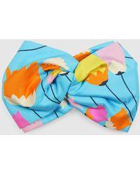Gucci Stirnband aus Seide mit Tulpen Print - Blau