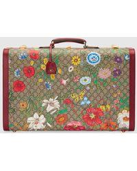 Gucci Großer GG Koffer mit Flora Print - Natur