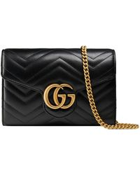 Gucci Gg Marmont Mini Schultertasche Aus Gestepptem Leder - Schwarz