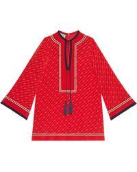 Gucci Kaftan aus Seide mit diagonalem GG - Rot