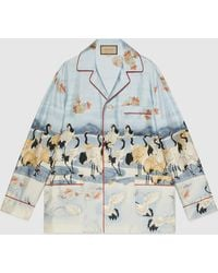 Gucci 【公式】 (グッチ)オンライン限定 ポンド プリント パジャマシャツライトブルーブルー - マルチカラー