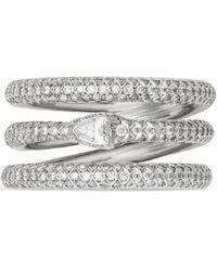 Gucci Bague Ouroboros à trois anneaux en or blanc et diamant - Multicolore