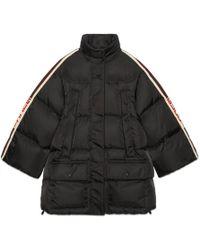 228beadc Padded Nylon Cape Jacket With Stripe - Black