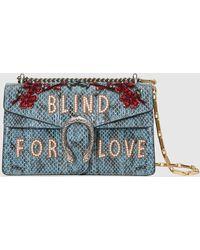 Gucci 2017 Re Edition Dionysus Tasche aus Pythonleder - Blau