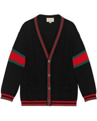 Gucci Oversize cable knit wool cardigan - Schwarz
