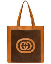 586d88d3aba8fb Lyst - Gucci Ophidia Suede Large Tote in Brown
