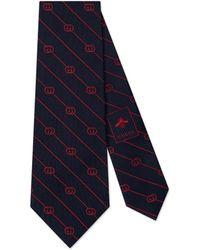 Gucci Cravate en soie à imprimé GG et rayures - Bleu