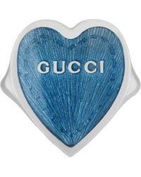 Gucci Bague avec cœur en émail - Bleu