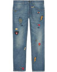 Gucci - Tapered Denim Pant With Symbols - Lyst