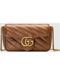 Gucci - 【公式】 (グッチ)〔GGマーモント〕キルティング スーパーミニバッグブラウン レザーブラウン - Lyst