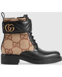 Gucci 【公式】 (グッチ)ダブルg付き ウィメンズ アンクルブーツレザー&GGキャンバスブラック