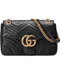 Gucci GG Marmont Medium Matelassé Shoulder Bag - Black