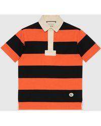 Gucci - 【公式】 (グッチ)パッチ付き ストライプ コットン ポロシャツオレンジ&ブラックオレンジ - Lyst