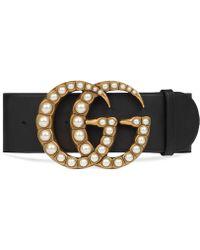 Gucci - Cintura grande in pelle e Doppia G con perle - Lyst