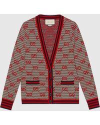 Gucci 【公式】 (グッチ)GGジャカード ウール カーディガンアイボリー、ネイビー、レッドブルー