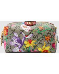 Gucci Ophidia GG Kosmetiktäschchen mit Flora-Print - Natur