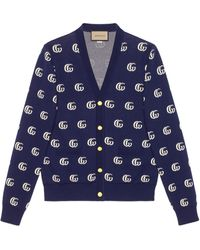 Gucci Cardigan en maille de coton jacquard GG - Bleu