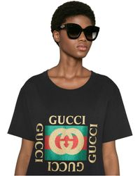 Gucci Round-frame Acetate Sunglasses With Star - Black