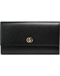 Gucci Portefeuille Continental GG Marmont en cuir - Noir