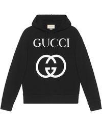 Gucci Felpa con cappuccio in cotone con stampa - Nero
