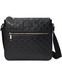 Gucci Signature Leather Messenger - Black