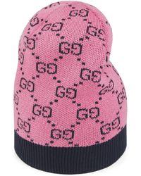 Gucci Gorro de algodón y lana GG Multicolor - Rosa