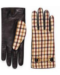Gucci Gants en laine à carreaux avec cuir - Blanc