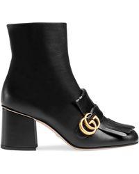 Gucci GG Marmont Kiltie Fringe Leather Booties - Multicolour