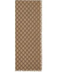 Gucci Étole en laine GG avec bande Web - Neutre
