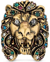 Gucci Lion Head Ring With - Metallic