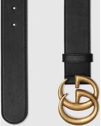 Gucci Gürtel aus Leder mit Doppel G Schnalle - Schwarz