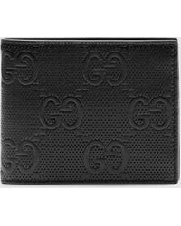 Gucci Portemonnaie aus geprägtem GG Leder - Schwarz