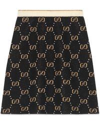 Gucci Jupe en laine GG - Noir