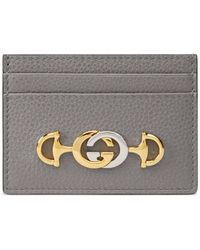 Gucci Zumi Kartenetui aus genarbtem Leder - Grau