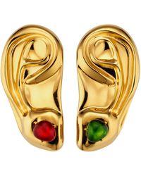 Gucci Broches d'oreilles en métal avec pierres en cabochon - Multicolore
